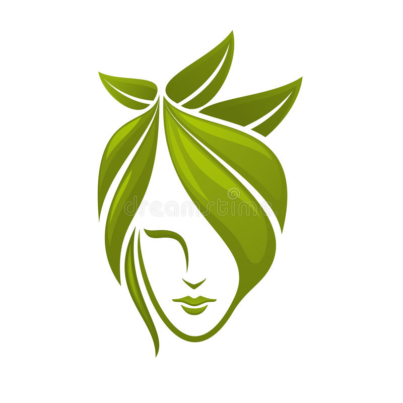 Woman face with green leaves stock vector illustration for Abstract beauty salon