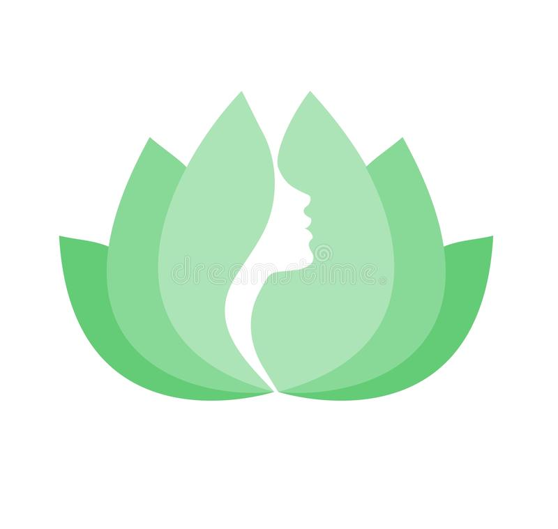Female face in green lotus flower. Beautiful face of woman formed by green leaves of lotus flower, white background vector illustration