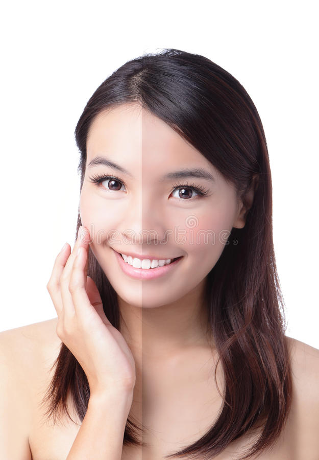 Download Woman Face With Half Tan Skin (before And After) Stock Photo - Image: 23611514