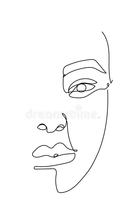 Woman face hand drawn vector in single line abstract style, isolated vector hand drawn. Template for card, poster, banner, print for t-shirt. Print on clothes royalty free illustration