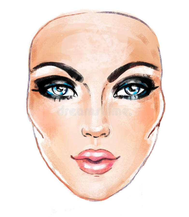 Woman face. Hand painted fashion illustration isolated on white. Hairstyle template. Smoky eyes