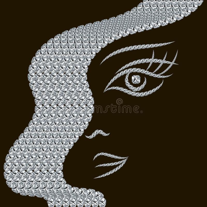 Woman face. Jewelry 3d diamonds . Hairstyle modern fashion design. Line art gemstones patterned face. Hand drawn vector jewellery royalty free illustration