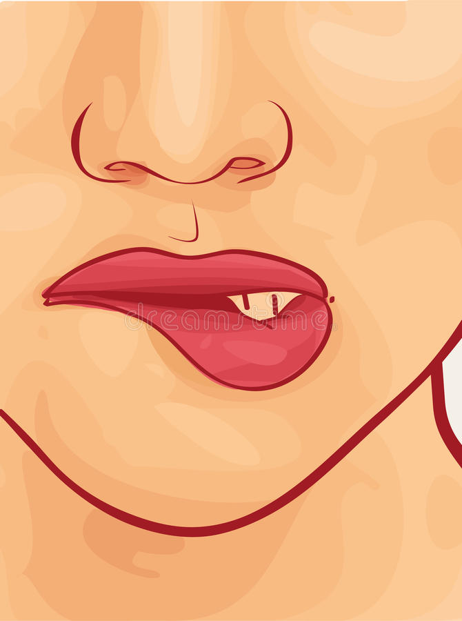 Download Woman face with lipstick. stock vector. Illustration of kiss - 27738342