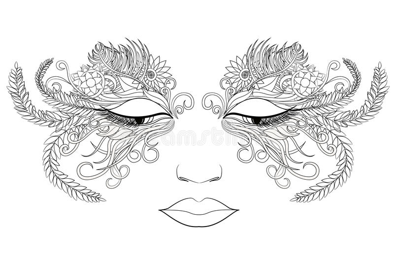 Woman face in a mask of flowers. Vector illustration. Black and white style royalty free illustration