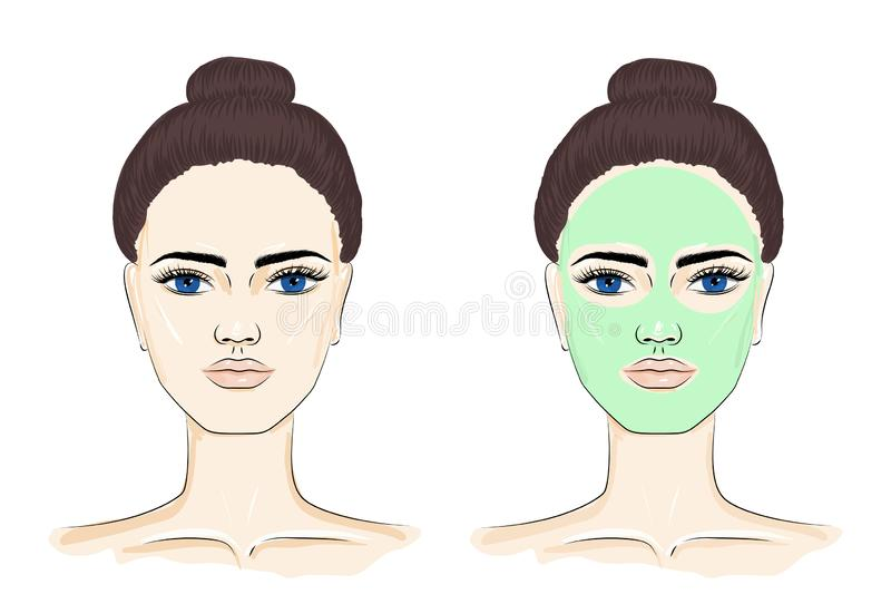 Woman with face mask. Portrait of a young woman with blue eyes and brown hair, front view. Woman with face mask, skin care. Vector EPS 10 stock illustration