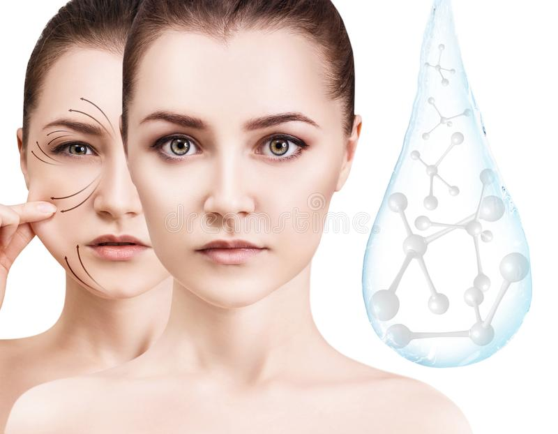 Woman face near water drop with molecules. 3d rendering. royalty free stock photography