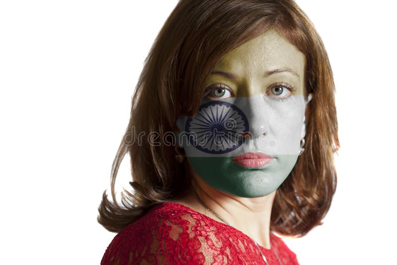 Woman face with painted Indian flag stock photos