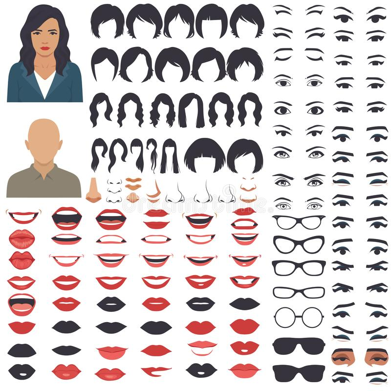 Woman face parts, character head, eyes, mouth, lips, hair and eyebrow icon set royalty free illustration