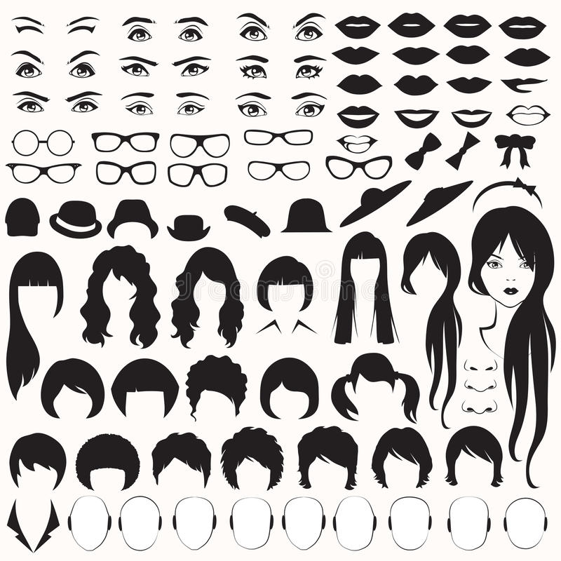 Woman face parts, vector illustration