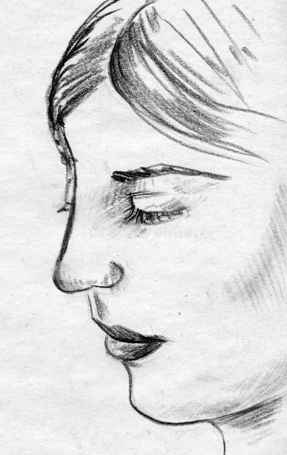 Woman face pencil sketch stock illustration