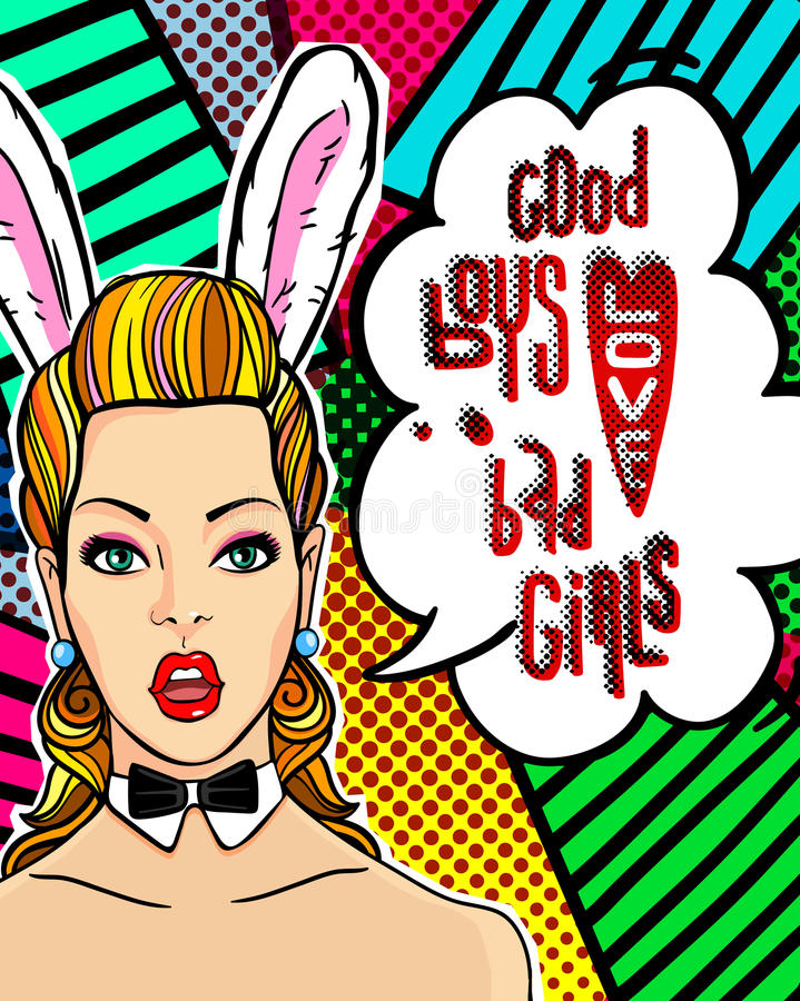 Woman face in pop art style with Bunny ears. stock illustration