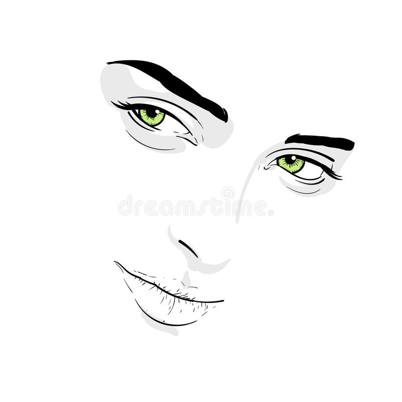 Woman face. Portrait. Outlines. Digital Sketch Hand Drawing royalty free illustration