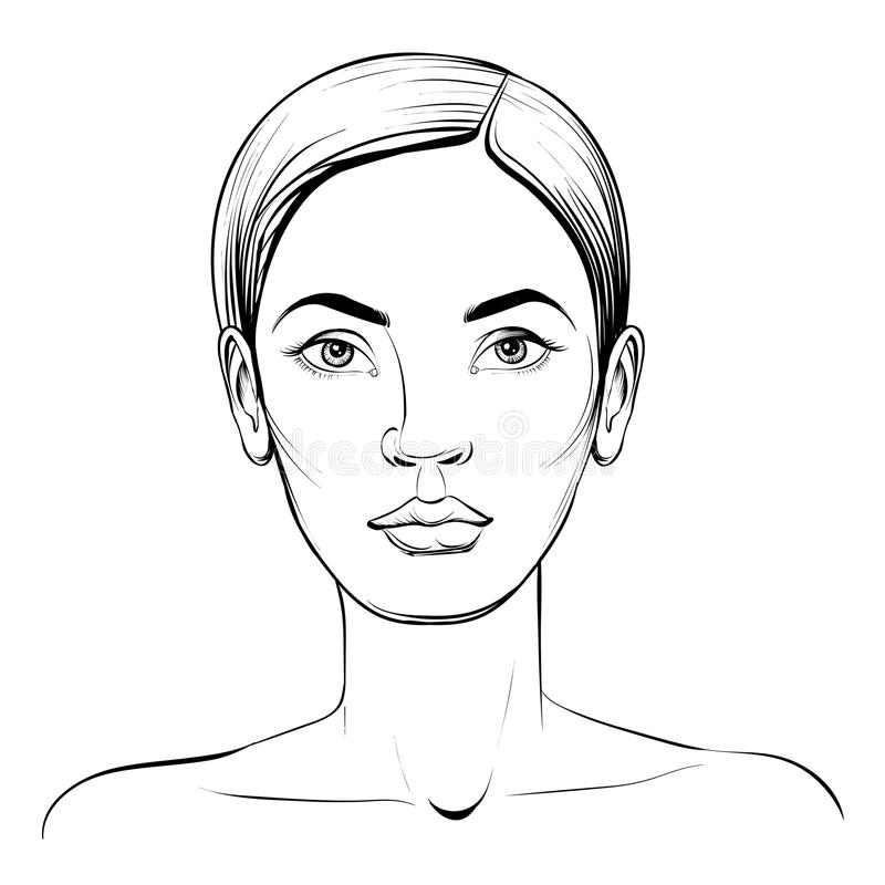 Woman face. Portrait vector sketch. royalty free illustration