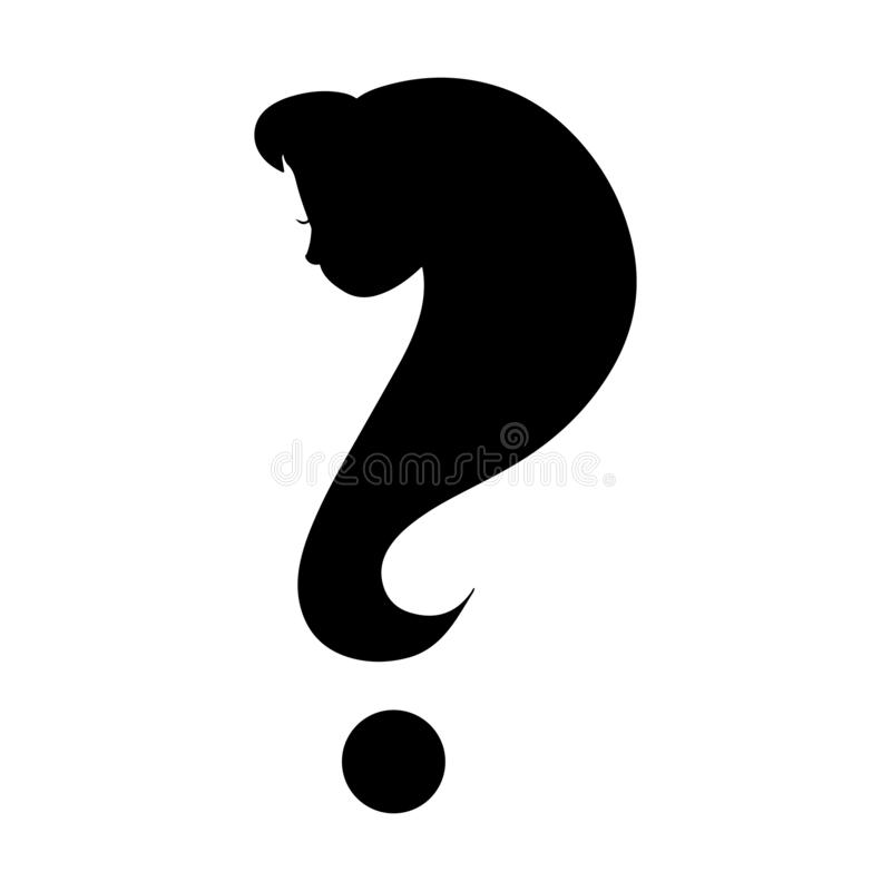 Woman face question mark silhouette. Black and white icon royalty free illustration