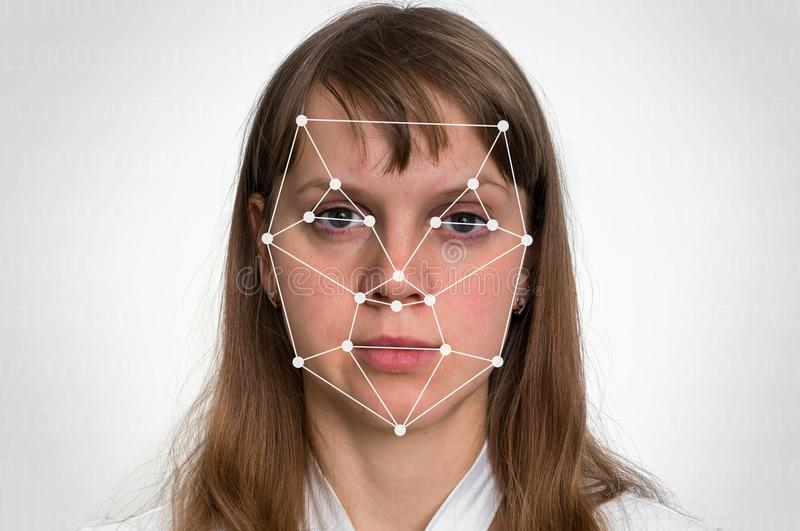Woman face recognition - biometric verification. Concept stock photography