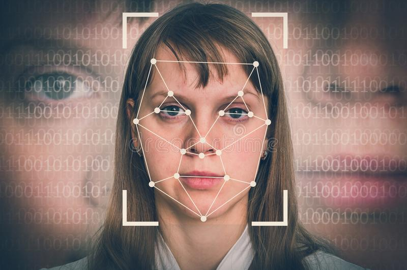 Woman face recognition - biometric verification concept. Retro style stock photography