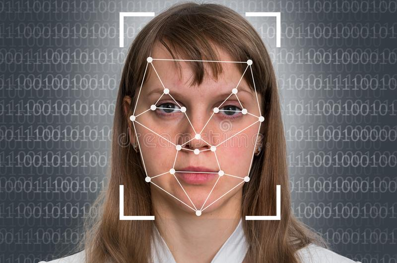 Woman face recognition - biometric verification. Concept royalty free stock image