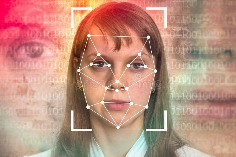 Woman face recognition - biometric verification stock images