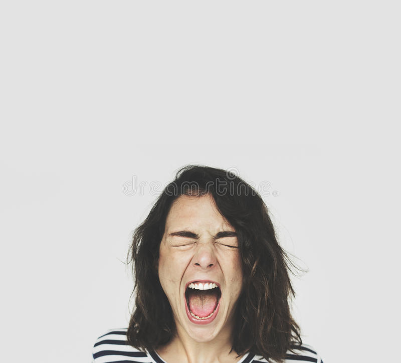 Woman Face Scream Expression Emotion stock photo