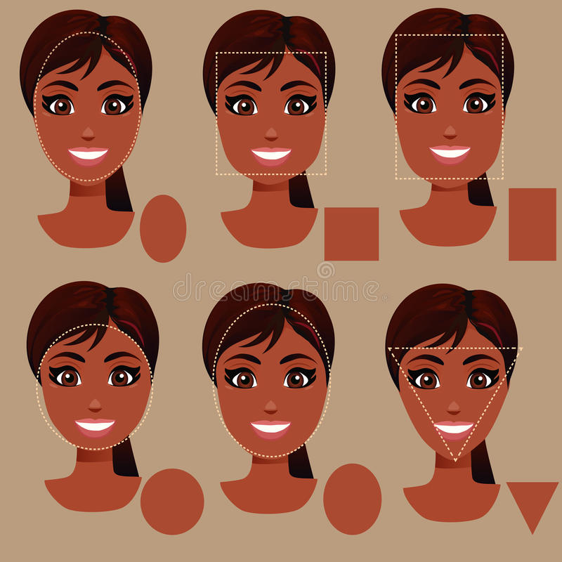 Woman face shape types vector illustration