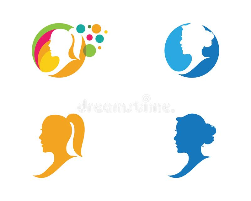 Woman face silhouette character illustration logo icon royalty free illustration