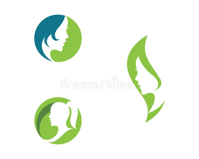 Woman face silhouette character illustration logo icon stock illustration