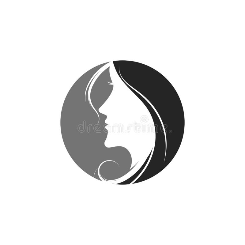 Woman face silhouette. Character illustration logo icon vector beautiful beauty business company corporate curve design emblem female girl hair healthy idea stock illustration