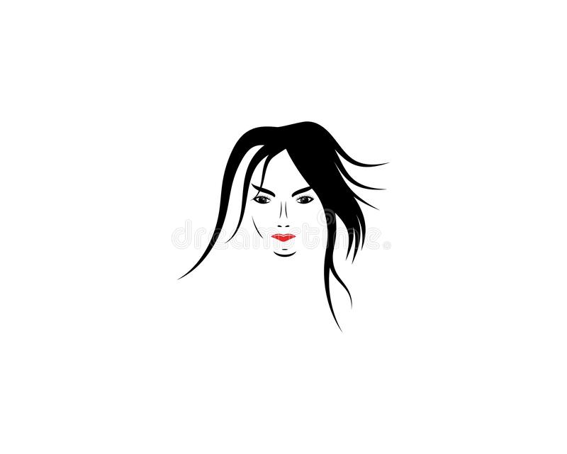 Woman face silhouette. Character illustration logo icon vector, beautiful, beauty, business, company, corporate, curve, design, emblem, female, girl, hair royalty free illustration