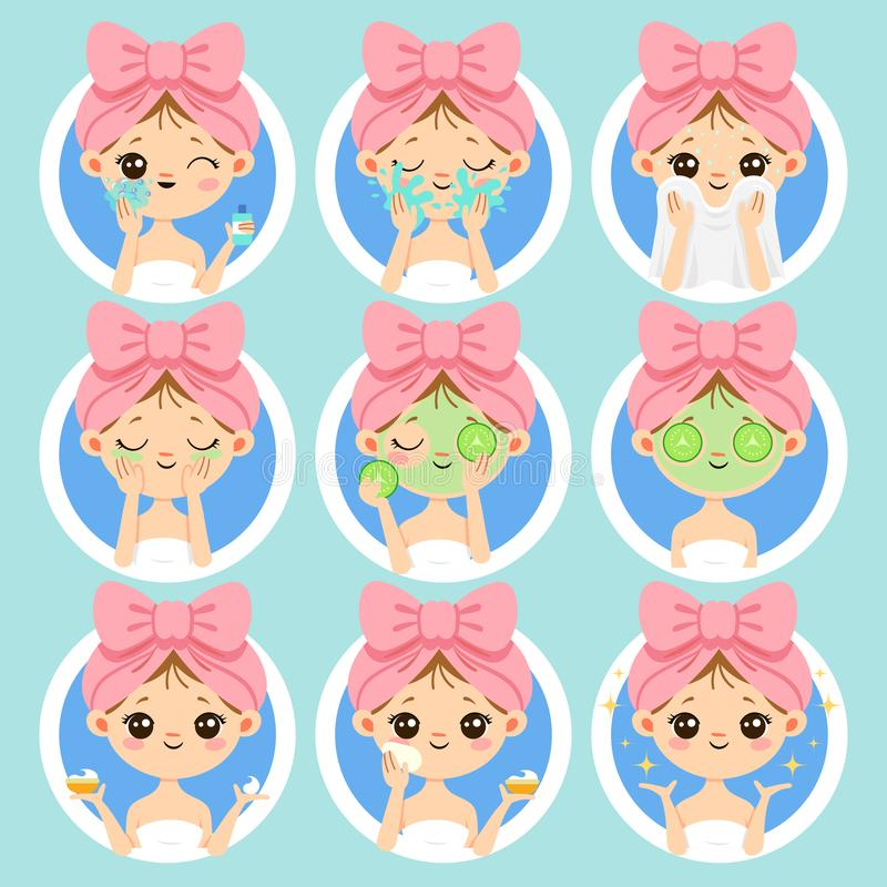 Woman face skin care. Healthy and beauty skincare, clean skin on fresh woman faces. Wash and clear face cartoon vector stock illustration