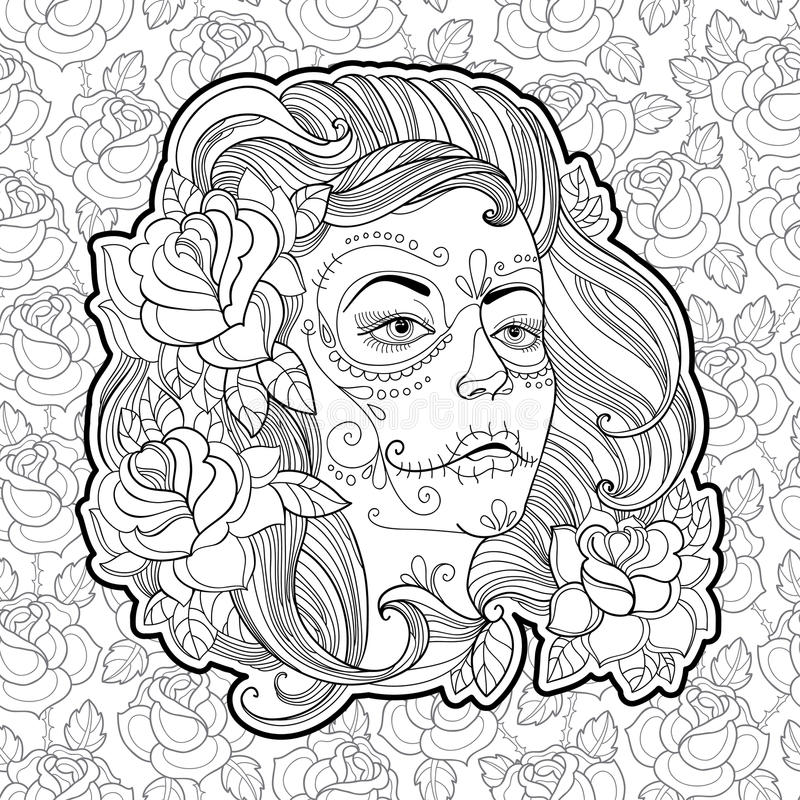 Woman face with Sugar skull or Calavera Catrina makeup on the background with roses. Vector illustration for Mexican Day of the dead or Dia de los Muertos vector illustration