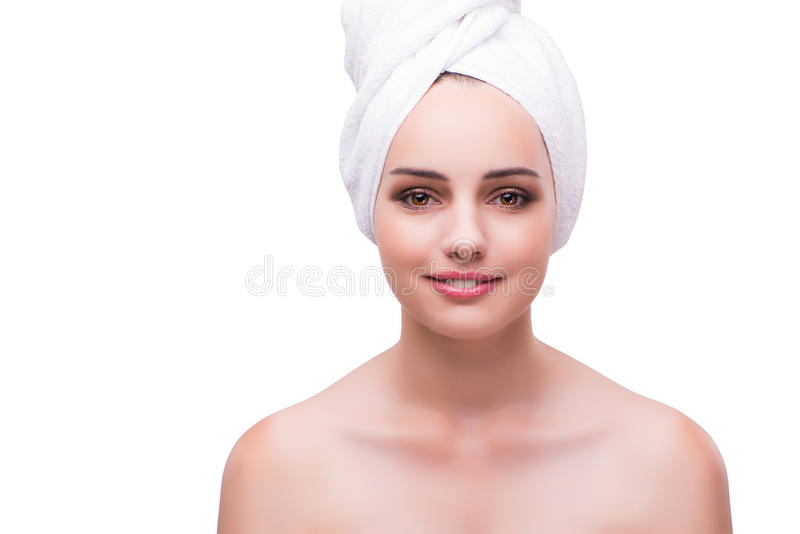 The woman in face treatment concept isolated on white royalty free stock photo