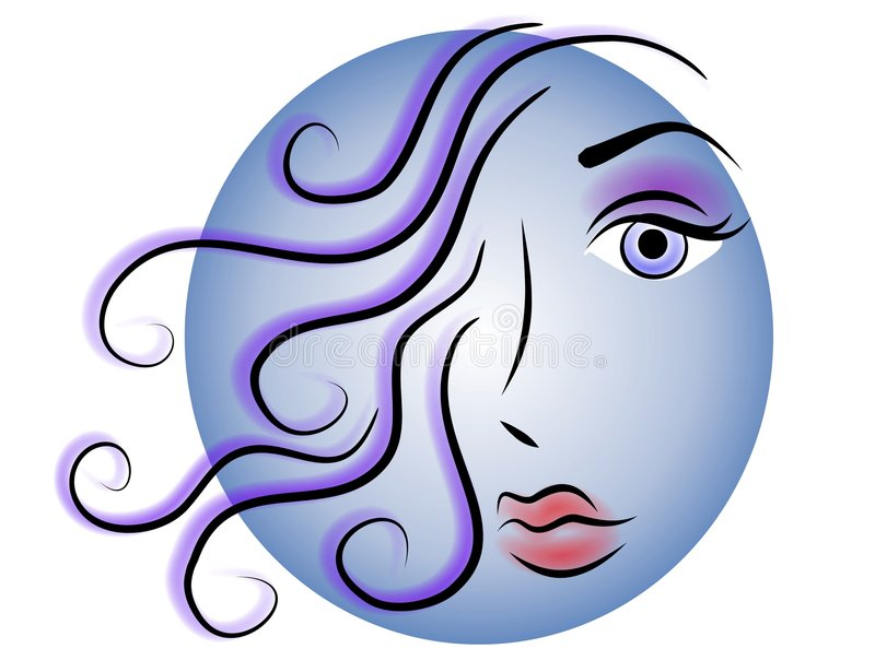 Woman Face Web Logo Icon Blue. An abstract clip art illustration of the face of a woman with long flowing hair against a colorful circle in gradient blue. Great vector illustration