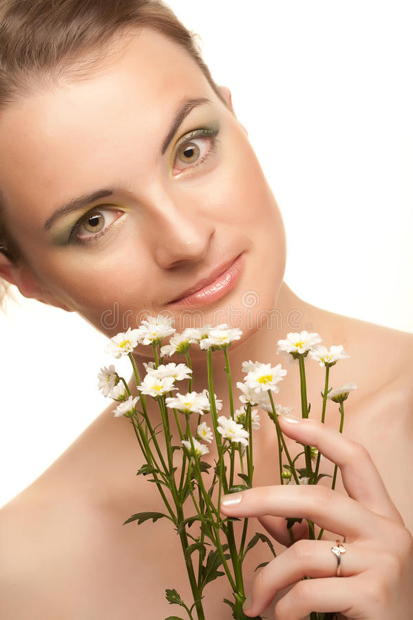 Download Woman Face With White Flowers Stock Photo - Image: 11168794