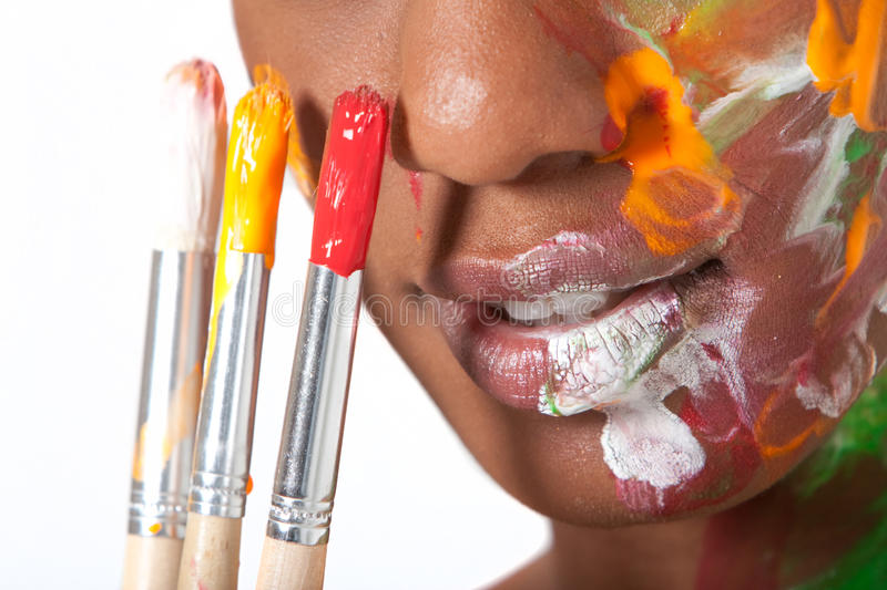 Woman in facepaint stock photography