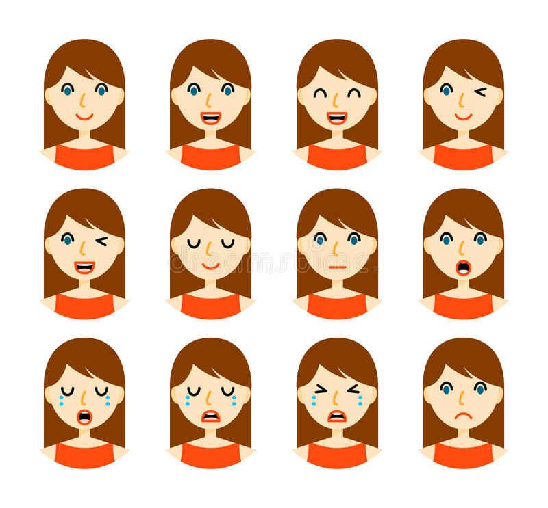 Woman Facial Expressions Stock Vector. Illustration Of