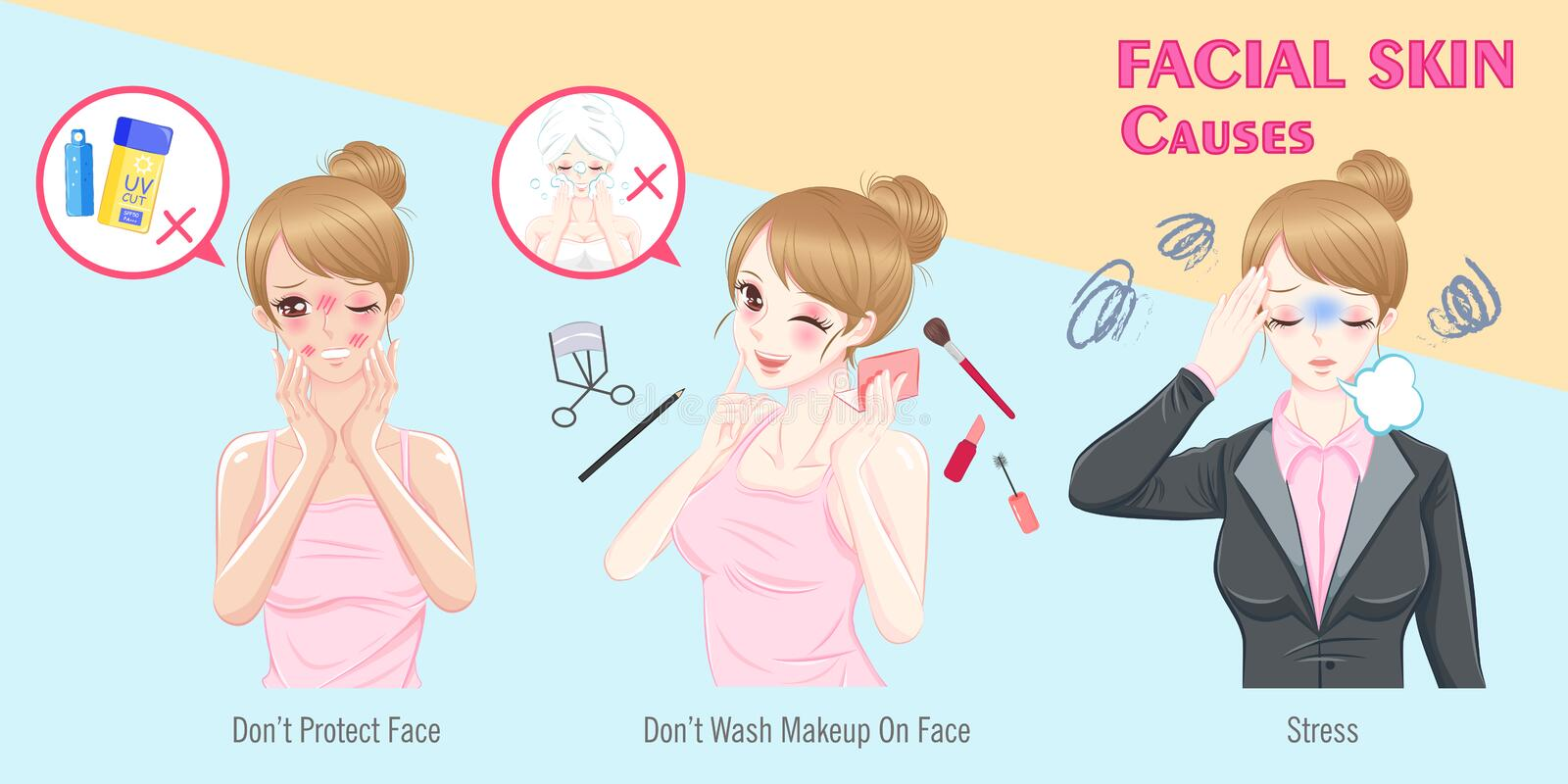 Woman with facial skin causes royalty free illustration