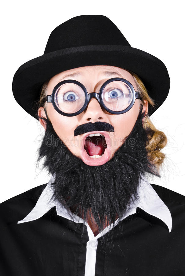 Download Woman With Fake Beard And Mustache Screaming Stock Photo - Image of caucasian, isolated: 33758510