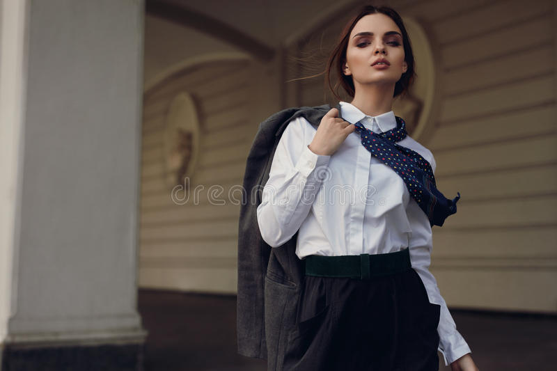 Woman Fall Fashion. Beautiful Model In Fashion Clothes In Street stock image