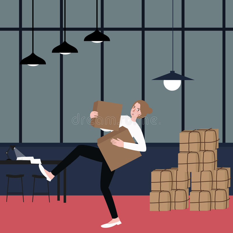 Woman almost fall holding bring cardboard box with pile of stacking package behind vector illustration