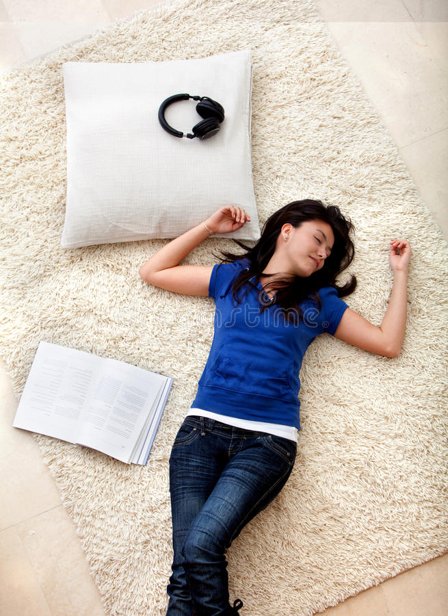 Download Woman fallen asleep stock photo. Image of asleep, earphones - 11014626
