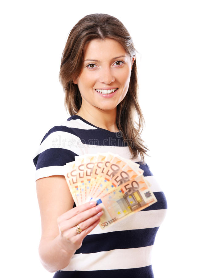 Download Woman with a fan of money stock photo. Image of bill - 18739978