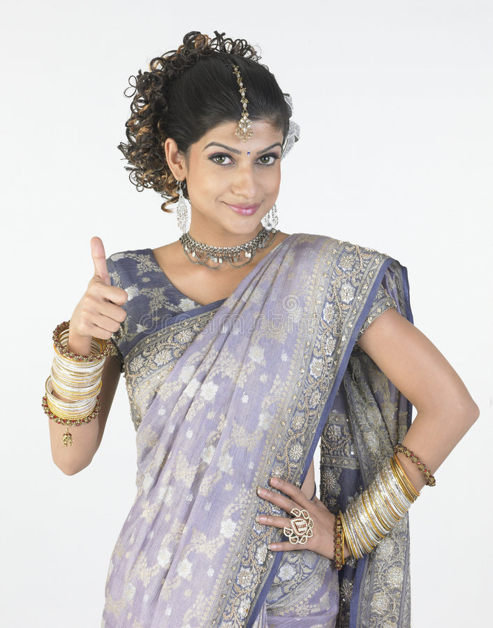 Download Woman With Fancy  Sari Saying Challenge Royalty Free Stock Image - Image: 8011886