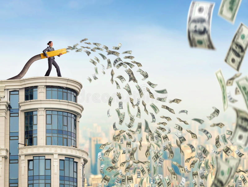 Woman fands money stock photography
