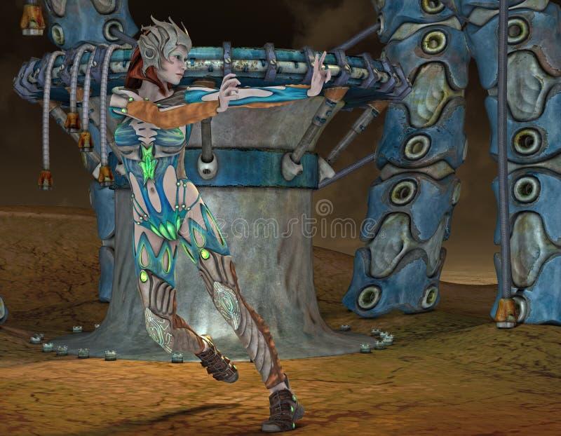 Woman in fantasy armor royalty free illustration