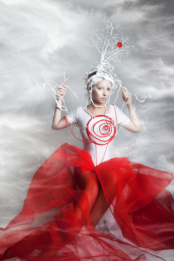 Woman in the fantasy costume. The woman in the fantasy costume stock photo