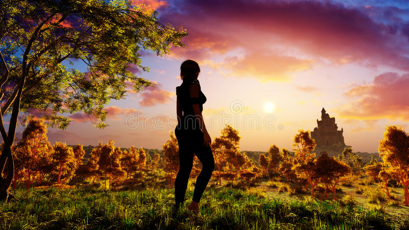 Woman On Fantasy Forest stock illustration