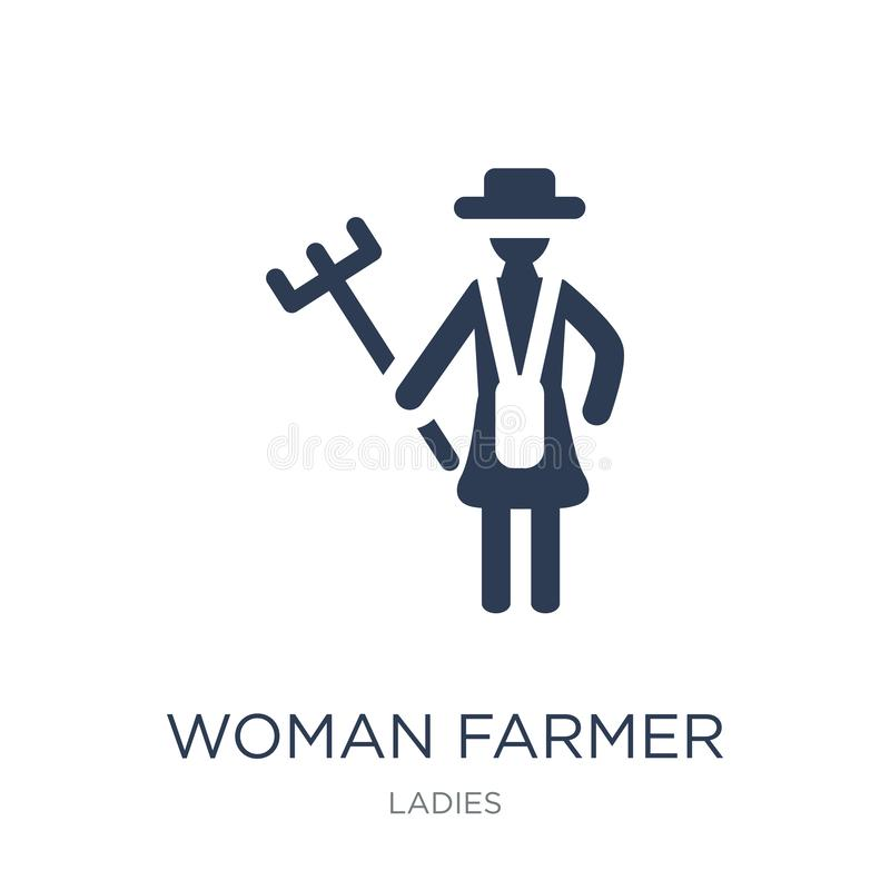 Woman Farmer icon. Trendy flat vector Woman Farmer icon on white royalty free illustration