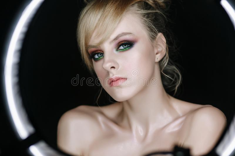 Woman Fashion Backstage Portrait Black Background stock images
