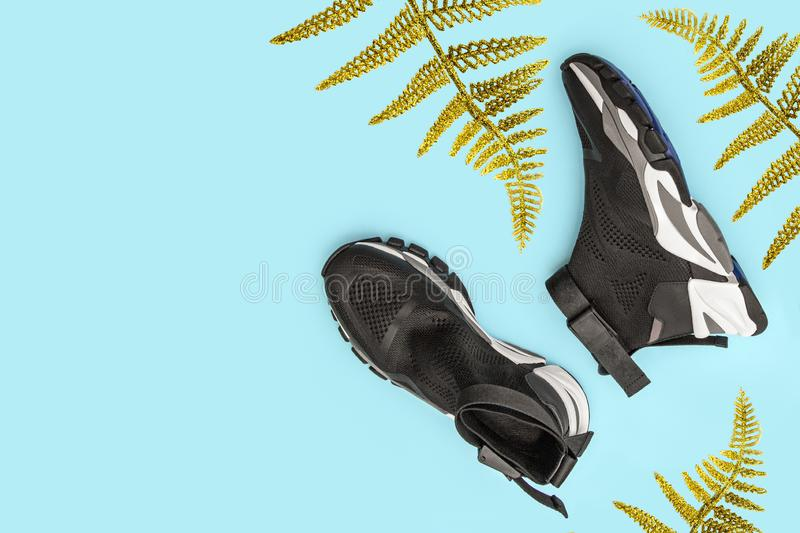 Woman fashion black sport shoes with gold fern leaf, palm frond on blue background. Top view, copy space stock images