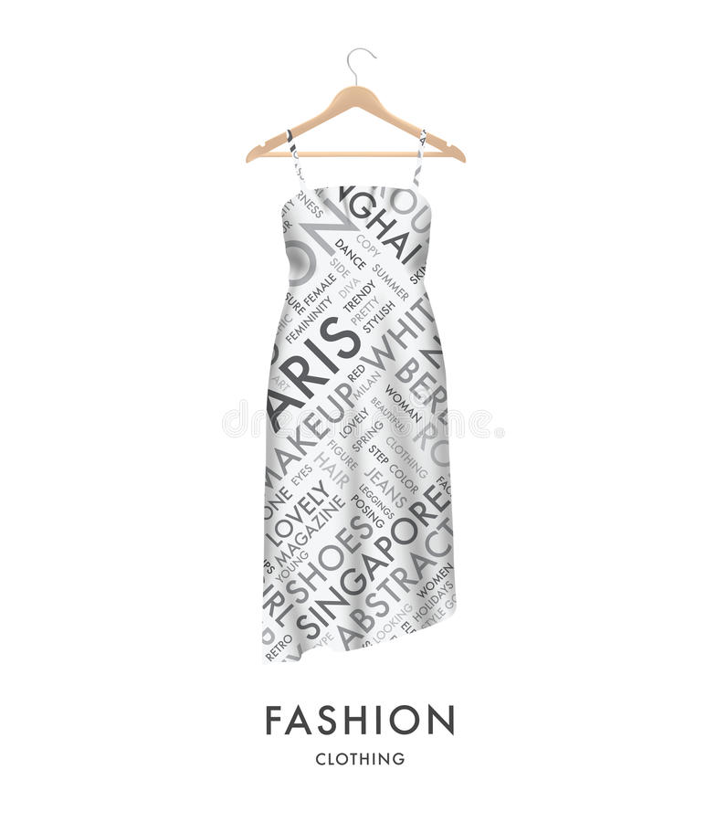 Woman fashion dress with fashionable text typography vector. Easy to edit. royalty free illustration